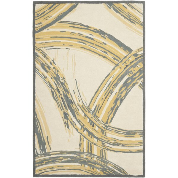 Ghent Paint Strokes Hand Tufted Wool/Cotton Cement Area Rug by Latitude Run