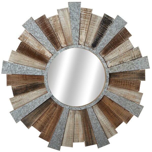 Elsworth Slat and Galvanized Sunburst Wall Mirror by Gracie Oaks