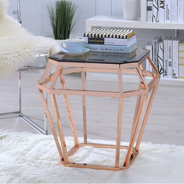 Myron Glass End Table by Everly Quinn Everly Quinn