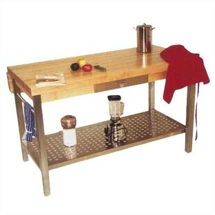 Stainless steel prep stations tables youll love wayfair cucina grande prep table with butcher block top watchthetrailerfo