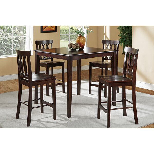 Chuckanut 5 Piece Counter Height Solid Wood Dining Set by Charlton Home