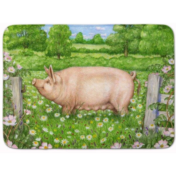 Jonah Pig in Dasies by Debbie Cook Memory Foam Bath Rug by August Grove