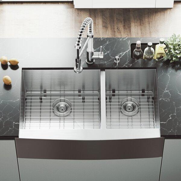 Chisholm 36 L x 22 W Double Basin Farmhouse Kitchen Sink with Sink Grid by VIGO