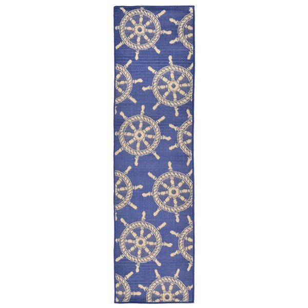 Valero Blue Indoor/Outdoor Area Rug by Breakwater Bay