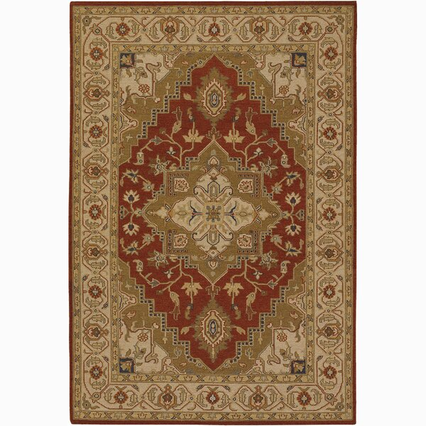 Abell Wool Brown/Red Area Rug by Alcott Hill