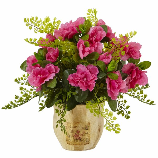 Azalea/Maiden Floral Arrangements in Planter by Nearly Natural