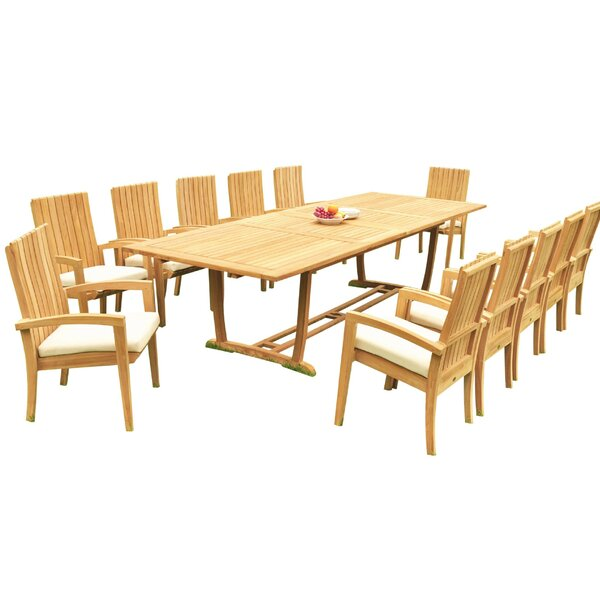 Wetzel 13 Piece Teak Dining Set by Bayou Breeze