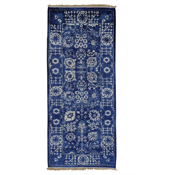 One-of-a-Kind Saltzman Hand-Knotted Blue Area Rug by Astoria Grand