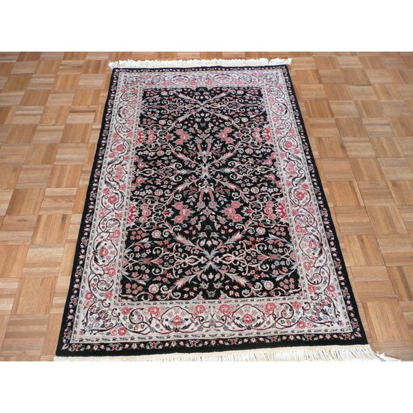 One-of-a-Kind Padro Kirman Hand-Knotted Black Area Rug by Bloomsbury Market