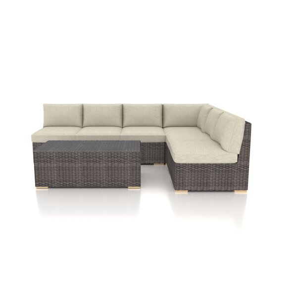 Holcomb 7 Piece Rattan Sectional Seating Group With Sunbrella Cushions By Rosecliff Heights