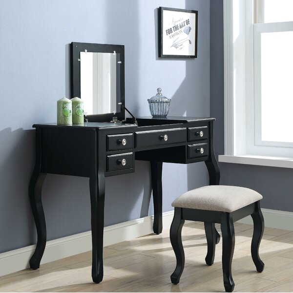 Runge 5 Drawer Wooden Vanity Set with Mirror by Canora Grey
