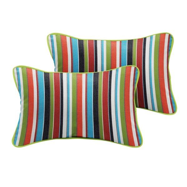 Thach Sunbrella Carousel Confetti Outdoor Lumbar Pillow (Set of 2) by Bayou Breeze