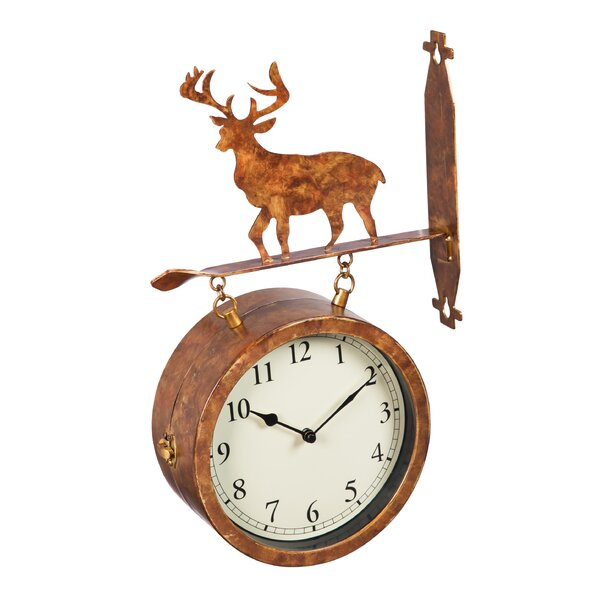 Fressia 2-Sided Outdoor Wall Clock and Thermometer with Deer Icon by Loon Peak