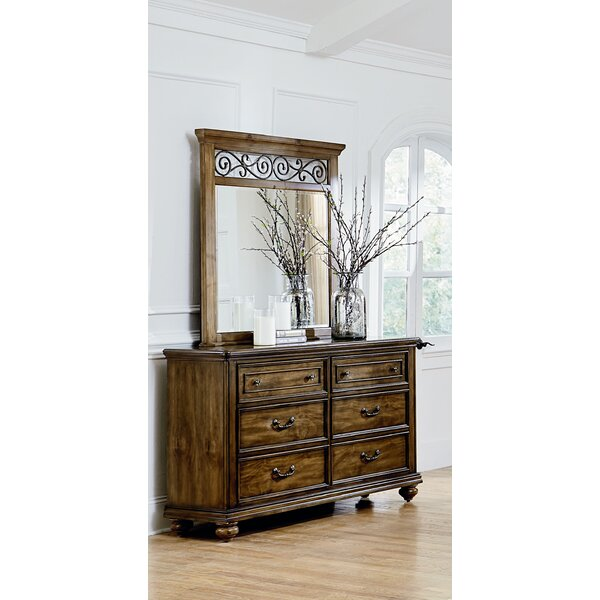 Thach 6 Drawer Double Dresser with Mirror by Charlton Home