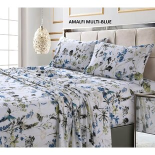 Peach Floral 214 West 300 Thread Count Ditsy Floral Printed Sheet Set Abigail