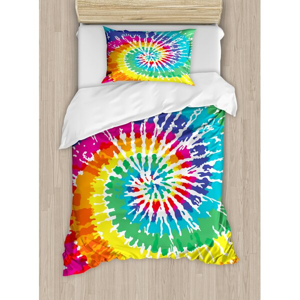 Tie Dye Digital Spiral Vortex Vibrant Rainbow Colored Sixties Ikat Psychedelic Pattern Duvet Set by Ambesonne