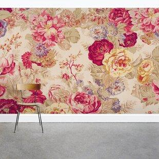 Berau Vintage Floral Rose 8 X 144 3 Piece Wall Mural