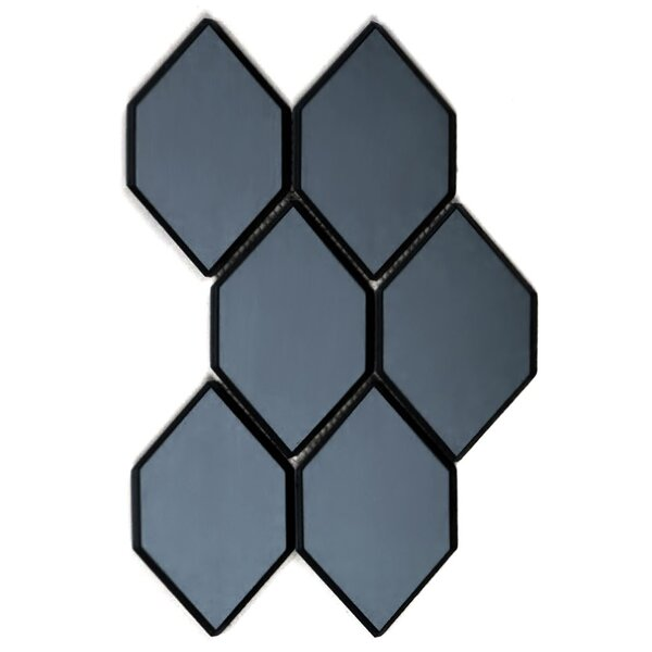 Echo Honeycom 4 x 5.13 Glass Mosaic Tile in Graphite by Abolos
