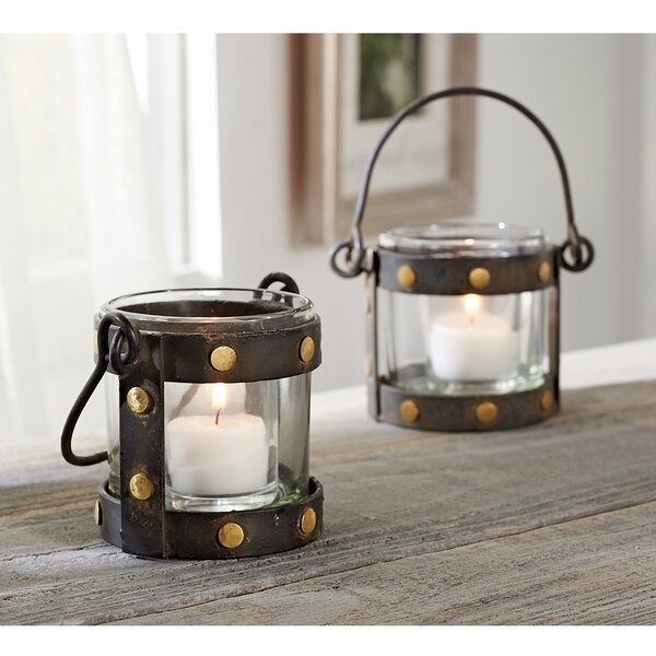 Brass Studded Votive Metal Lantern by Mud Pie™