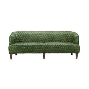 Dark Green Leather Sofa | Wayfair