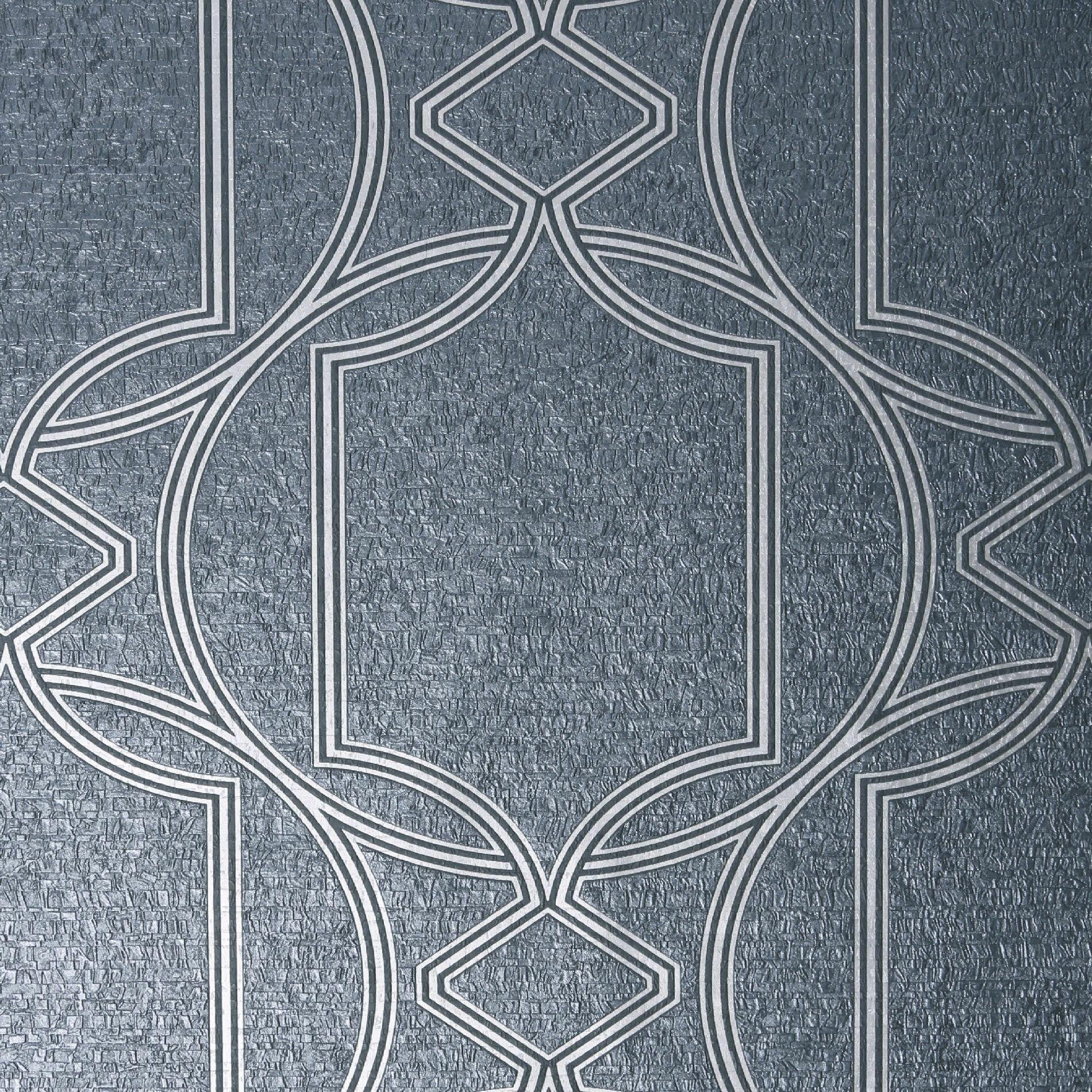 Art Deco 10m X 52cm Metallic Finish Matte Wallpaper Roll