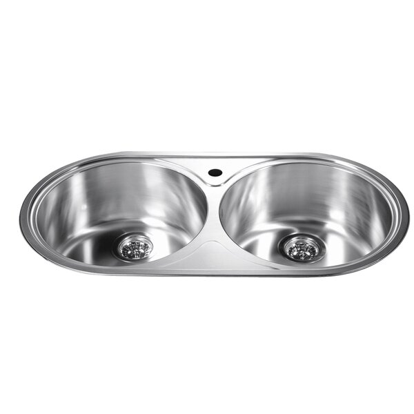 34.25 L x 18.13 W Top Mount Round Equal Double Bowl Kitchen Sink by Dawn USA