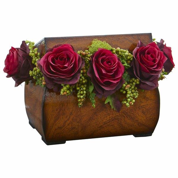 Rose Artificial Floral Arrangement in Decorative Chest by Astoria Grand