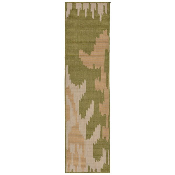 Gorski Ikat Green/Ivory Indoor/Outdoor Area Rug by Wrought Studio