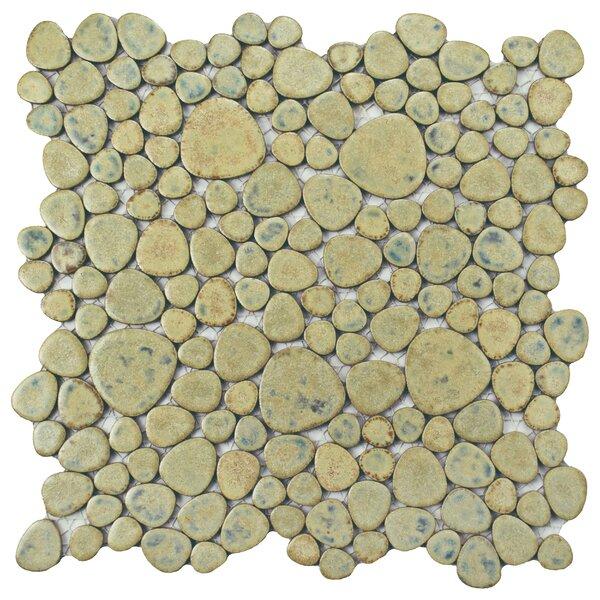 Boulder 11 x 11 Porcelain Mosaic Tile in Green Moss by EliteTile