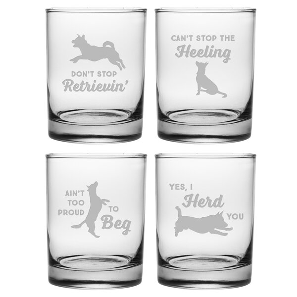 Meiners Clever Canines Assortment 14 oz. Cocktail Glass (Set of 4) by Ebern Designs