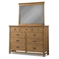 Huber 9 Drawer Double Dresser with Mirror by Loon Peak