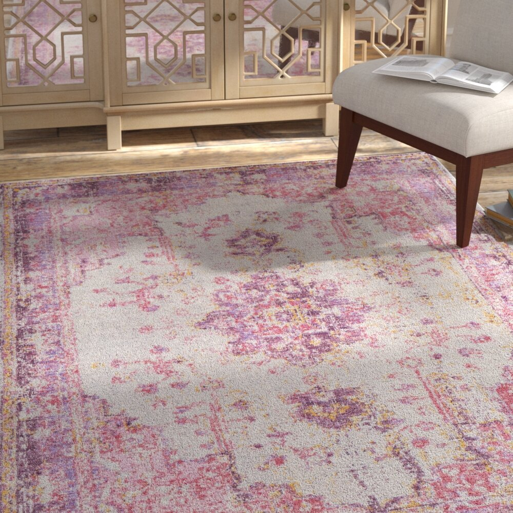 Bungalow Rose Kahina Pinkgray Area Rug Reviews Wayfair