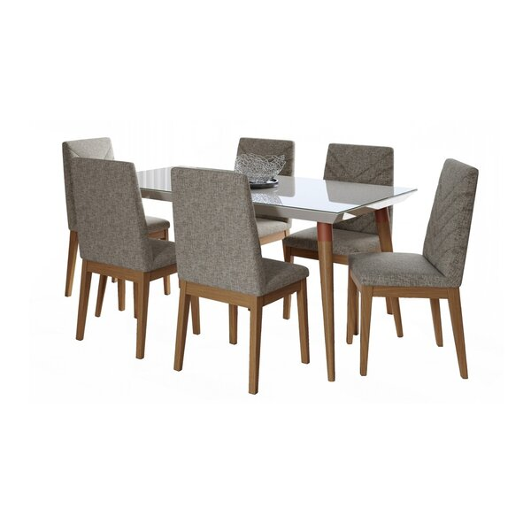 Lemington 7-Piece 70.86 Dining Set with 6 Dining Chairs in Off White and Grey by George Oliver