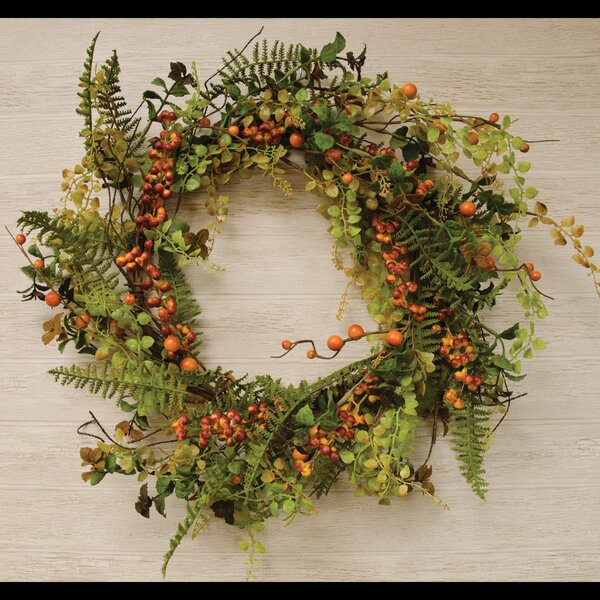 24 Berry Cluster Plastic Wreath by Gracie Oaks