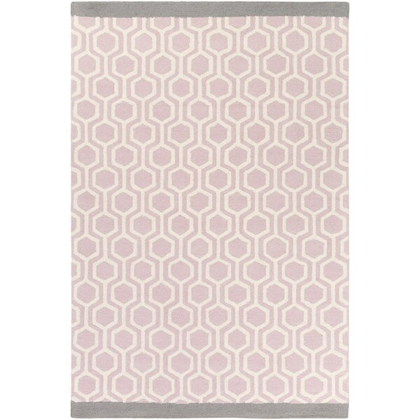Blitar Hand-Crafted Light Pink/Gray Area Rug by Wrought Studio