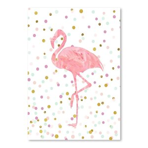 'Flamingo on Confetti' Oil Painting Print by Viv + Rae