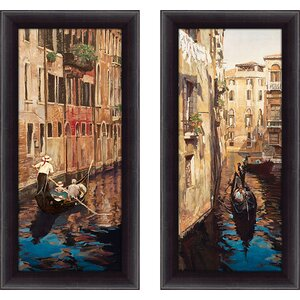 'Venezia I' 2 Piece Framed Print Set by Fleur De Lis Living