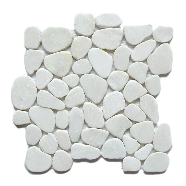 Snowflake Random Sized Marble Mosaic Tile in White by FuStone