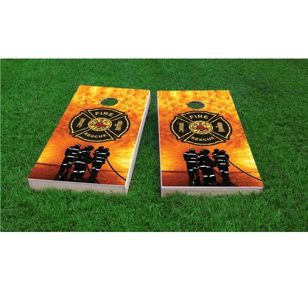 Firefighter Maltese Cross Cornhole Game Set by Custom Cornhole Boards