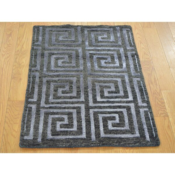 One-of-a-Kind Blagnac Hand-Knotted Black Wool/Silk Area Rug by Isabelline