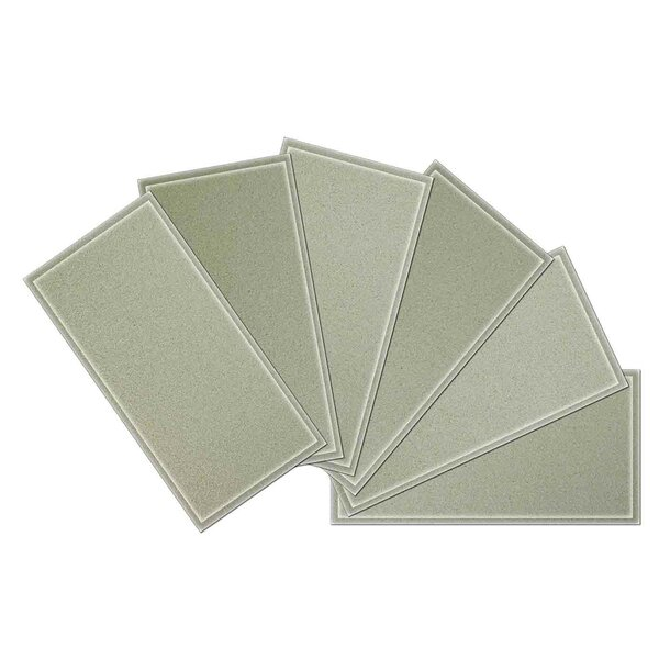 Crystal 3 x 6 Beveled Glass Subway Tile in Light Gray by Upscale Designs by EMA