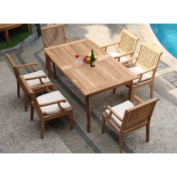 Nahua Luxurious 7 Piece Teak Dining Set by Rosecliff Heights