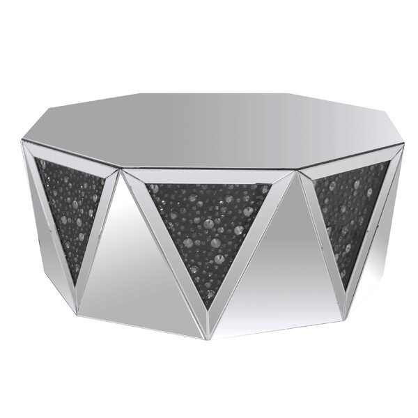 Ayers Octagonal Mirrored Top Coffee Table by House of Hampton