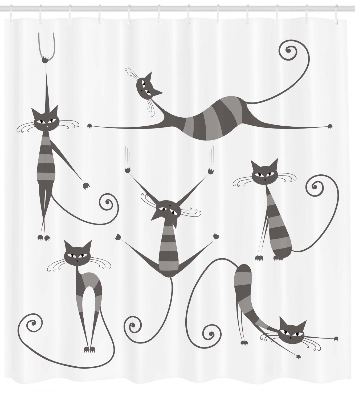 12 Hooks Funny Cat Bathing Decor Shower Curtain Stripe background Bath Curtains