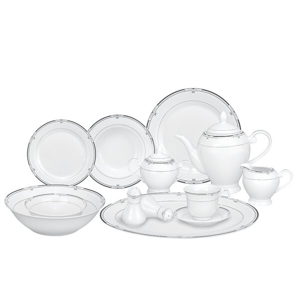 Rio Porcelain 57 Piece Dinnerware Set, Service for 8 by Lorren Home Trends