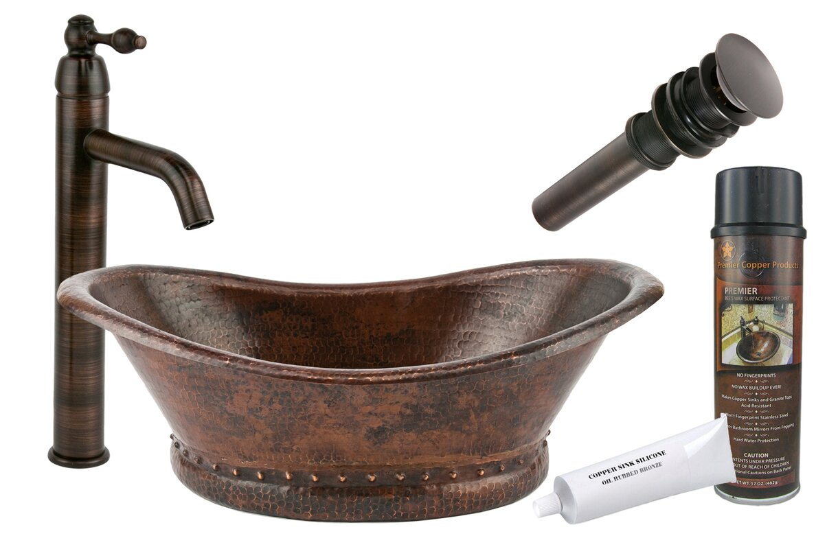 Premier Copper Products Metal Oval Vessel Bathroom Sink
