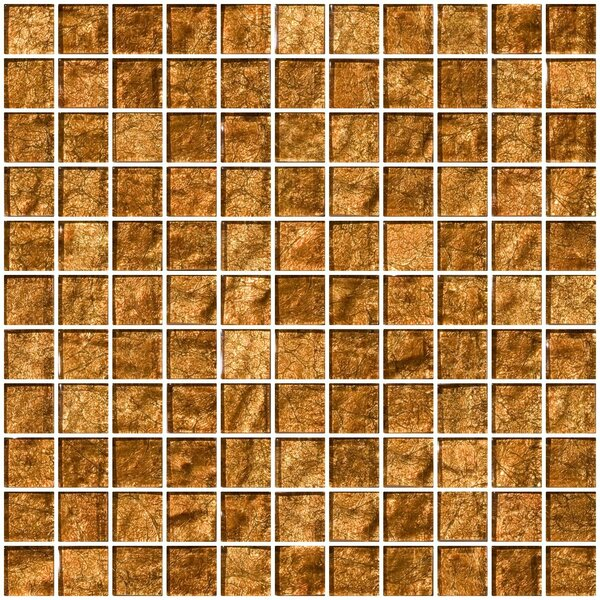 1 x 1 Glass Mosaic Tile in Cinnamon Shimmer Brown by Susan Jablon