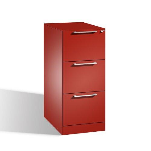 Aktenschrank Luna mit 3 Schubladen Ebern Designs Farbe: Himbeerrot | Büro > Büroschränke > Aktenschränke | Ebern Designs