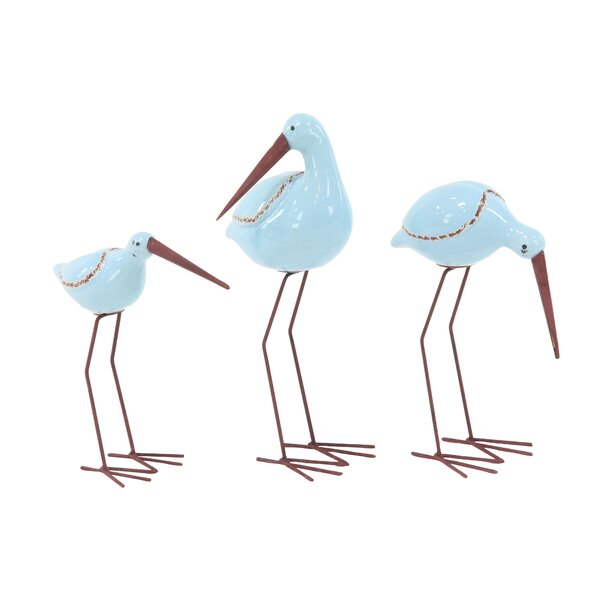Brightwell Coastal Flamingo and 3 Piece Figurine Set by Rosecliff Heights