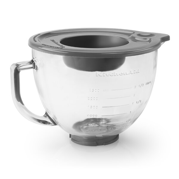 5 Qt. Glass Bowl with Measurement Markings, Pour Spout & Lid by KitchenAid